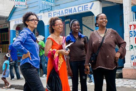 Marie-Andree Montisol from Cine Institute (second from right)  working on set of Ayiti Ayiti  in Jacmel w/ Edwige Danticat (end right) and other crew members.